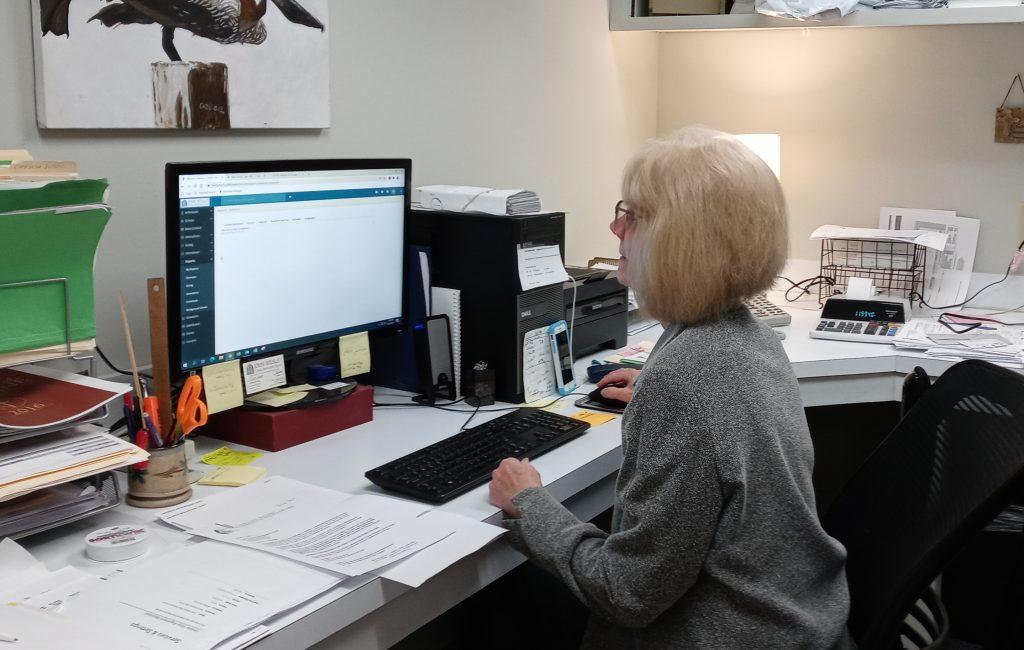 Judy at computer